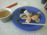 Sushi and Miso Soup from Work Cafeteria