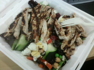 Mixed Greens with Grilled Chicken from Work Cafeteria