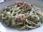 Pesto Fettuccine with Shrimp