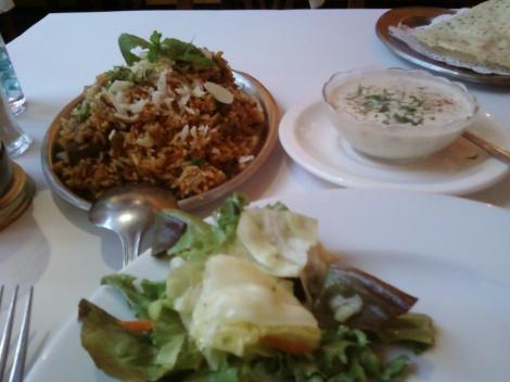 lamb biryani w/ side salad