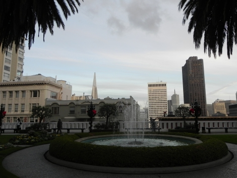 view of San Francisco from Fairmont Hotel on Nob Hill