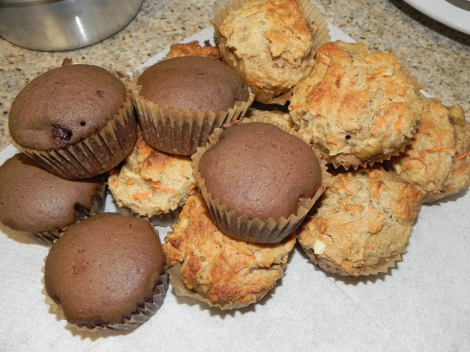 poof they are gone...vegan banana carrot muffins next to the vegan chcolate cupcakes