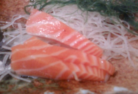small pieces of salmon sashimi