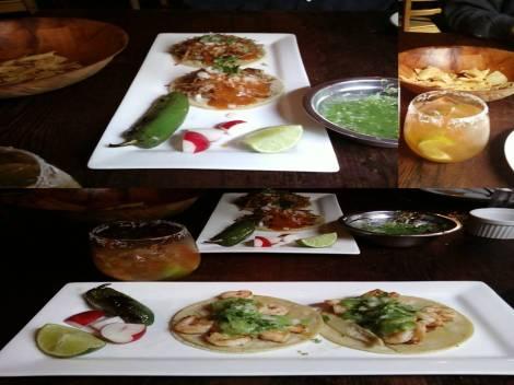 Shrimp Tacos and Carnitas Tacos