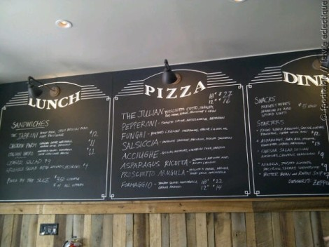 Chalk board menu at Gioia Pizzeria