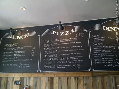 Chalk board menu at Gioia Pizzeria