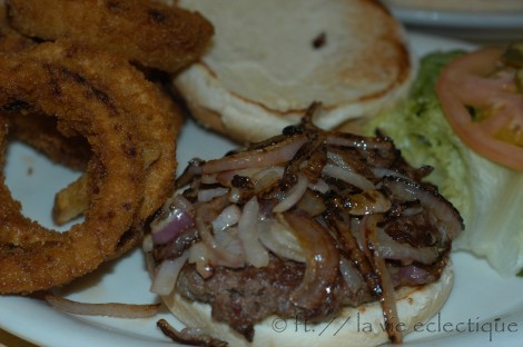Burger with Onion Rings at Bill's Place