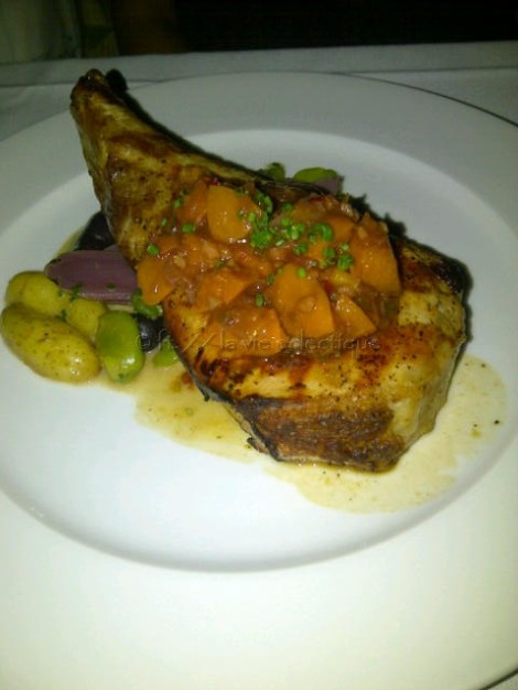 Berkshire Pork Chop with Stone Fruit Chutney, Fava Beans and Marble Potatoes