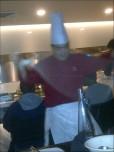 Chef pulling noodles